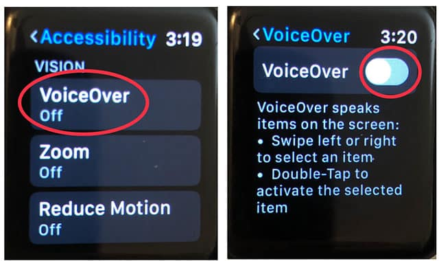 How to enable voiceover directly from Apple Watch part 2
